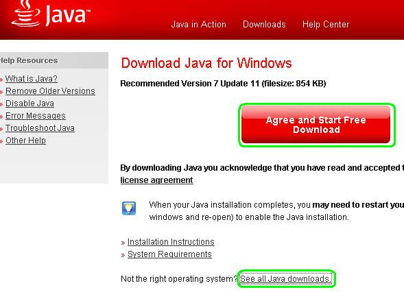 Ezután a böngésző átlép a következő oldalra (ide mutat: http://java.com/en/download/inc/windows_upgrade_xpi.jsp?locale=en ): A telepítéshez az Agree and Start Free Download gombra kell kattintani.
