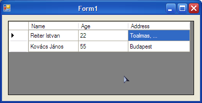"322 dr[""name""] = ""Reiter Istvan""; dr[""age""] = 22; dr[""address""] = ""Toalmas,...""; table.rows.add(dr); DataRow dr2 = table."