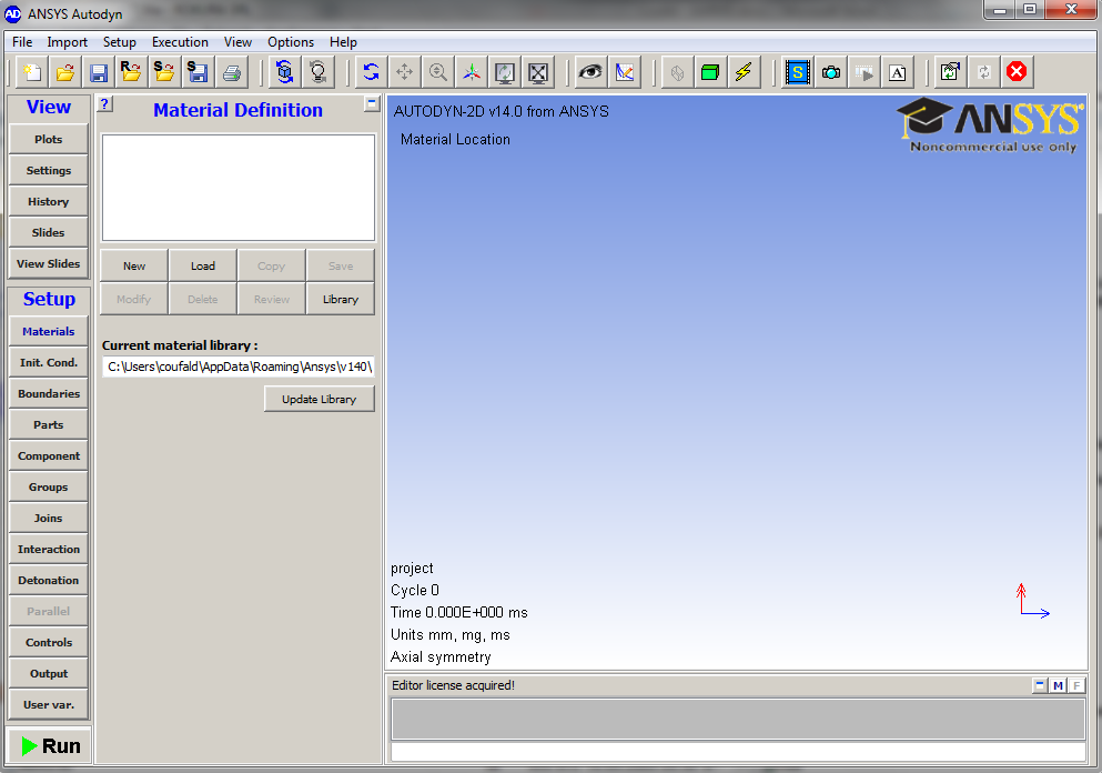 Fig. 3. Main screen of ANSYS AUTODYN 3 3. THE PREPARATION OF INDIVIDUAL COMPONENTS TO THE CALCULATION 3.