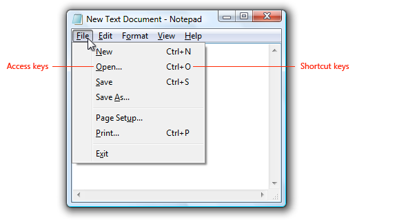 Access Keys/Hot keys Sometimes, there are underlined or highlighted letters in menu options, commands or dialog boxes.
