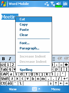 Using the input panel, enter typed text into the document. For more information on entering typed text, see Enter Information on Your Pocket PC.