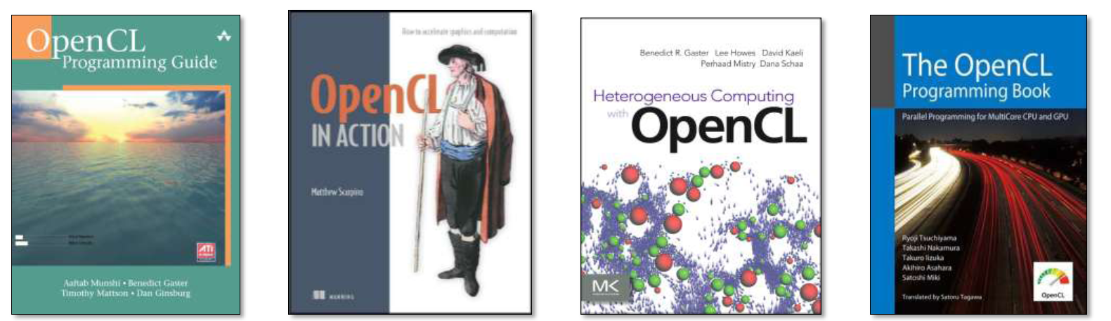 OpenCL könyvek OpenCL Programming Guide - The Red Book of OpenCL http://www.amazon.com/opencl-programming-guide-aaftab-munshi/dp/0321749642 OpenCL in Action http://www.amazon.com/opencl-action-accelerate-graphics-computations/dp/1617290173/ Heterogeneous Computing with OpenCL http://www.