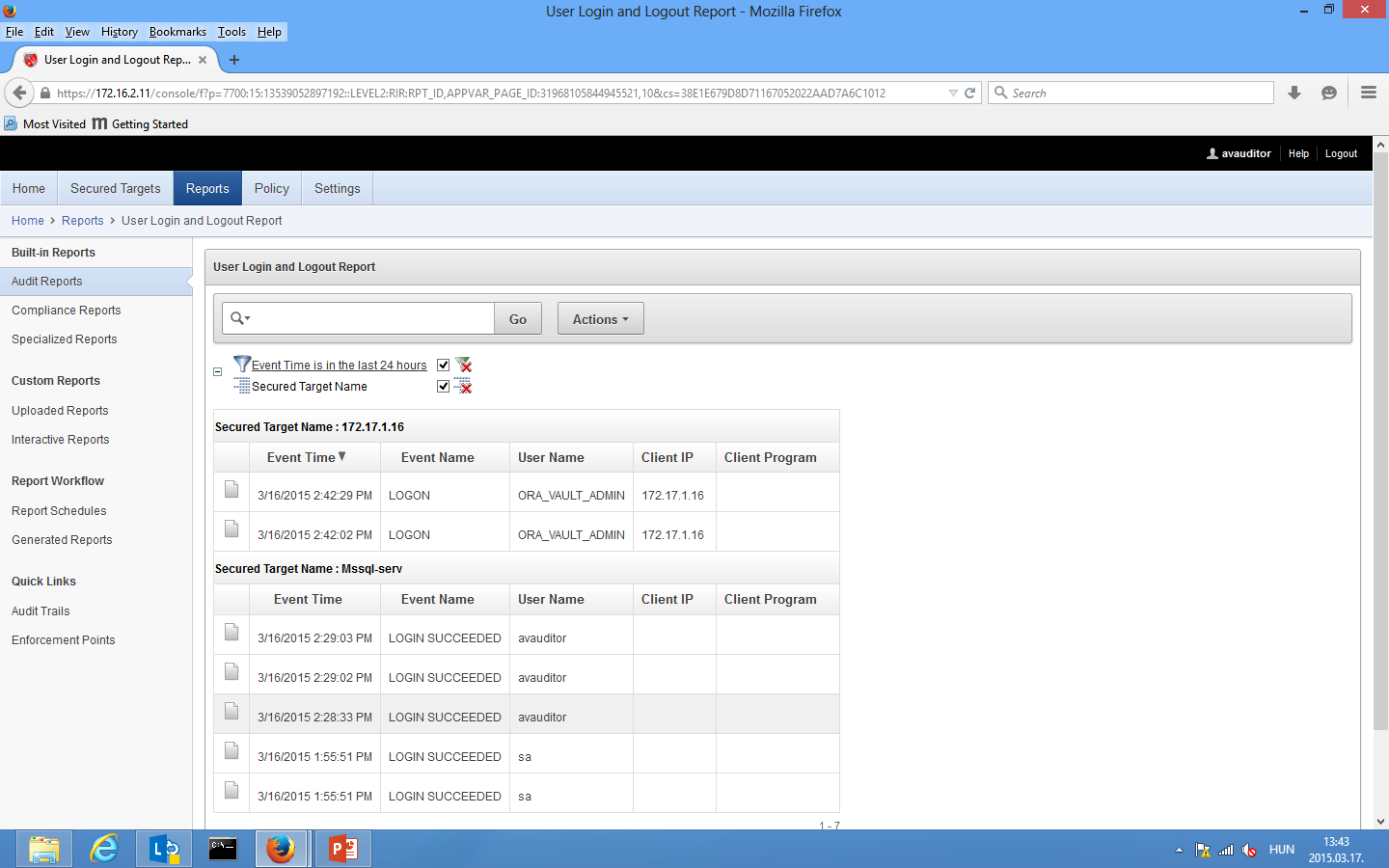 Audit Vault Server avauditor Reports