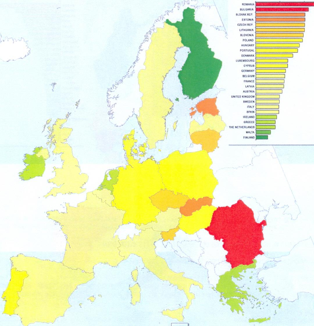 Cervical cancer incidence in the EU Member States