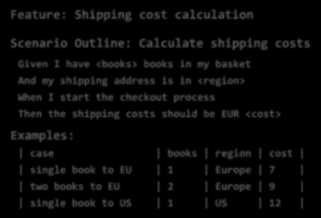 Kalkulációs forgatókönyvek tulajdonságai Feature: Shipping cost calculation Scenario Outline: Calculate shipping costs Given I have <books> books in my basket And my shipping address is in <region>