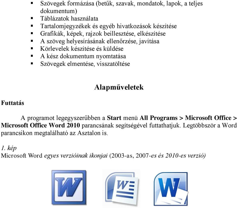 elmentése, visszatöltése Alapműveletek Futtatás A programot legegyszerűbben a Start menü All Programs > Microsoft Office > Microsoft Office Word 2010