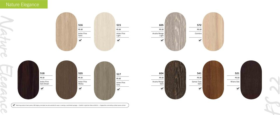 Milano Oak Matching products (back panels, ABS edging, laminates) are also available for ease in