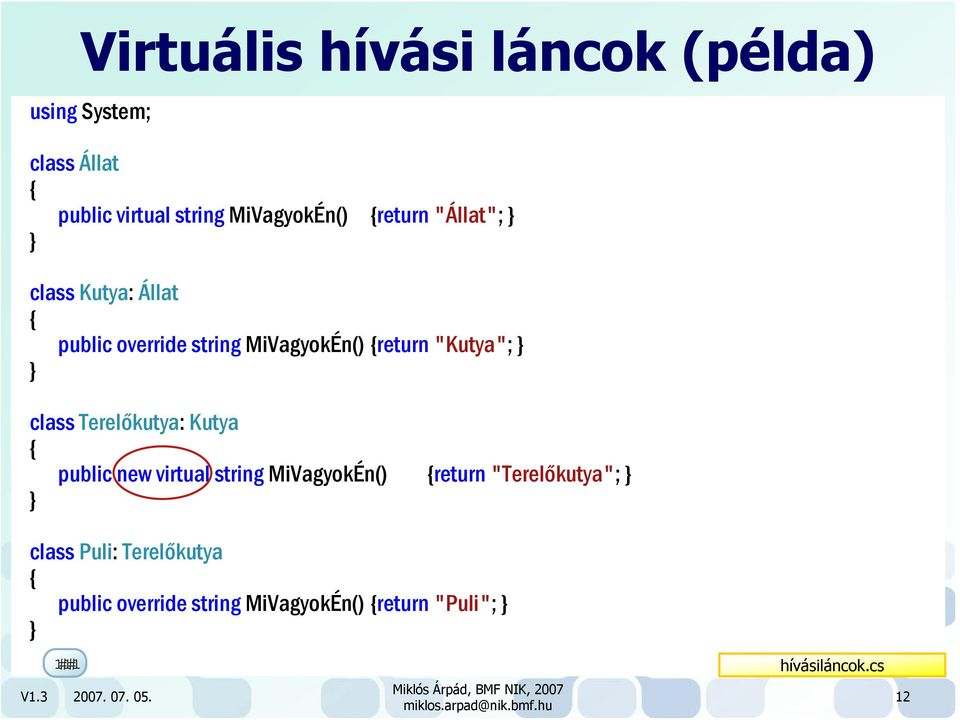 "Terelőkutya: Kutya public new virtual string MiVagyokÉn() return ""Terelőkutya""; class Puli:"