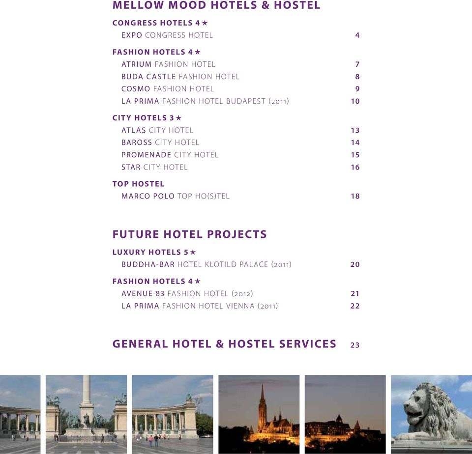 HOTEL 15 STAR CITY HOTEL 16 TOP HOSTEL MARCO POLO TOP HO(S)TEL 18 FUTURE HOTEL PROJECTS LUXURY HOTELS 5 BUDDHA-BAR HOTEL KLOTILD PALACE