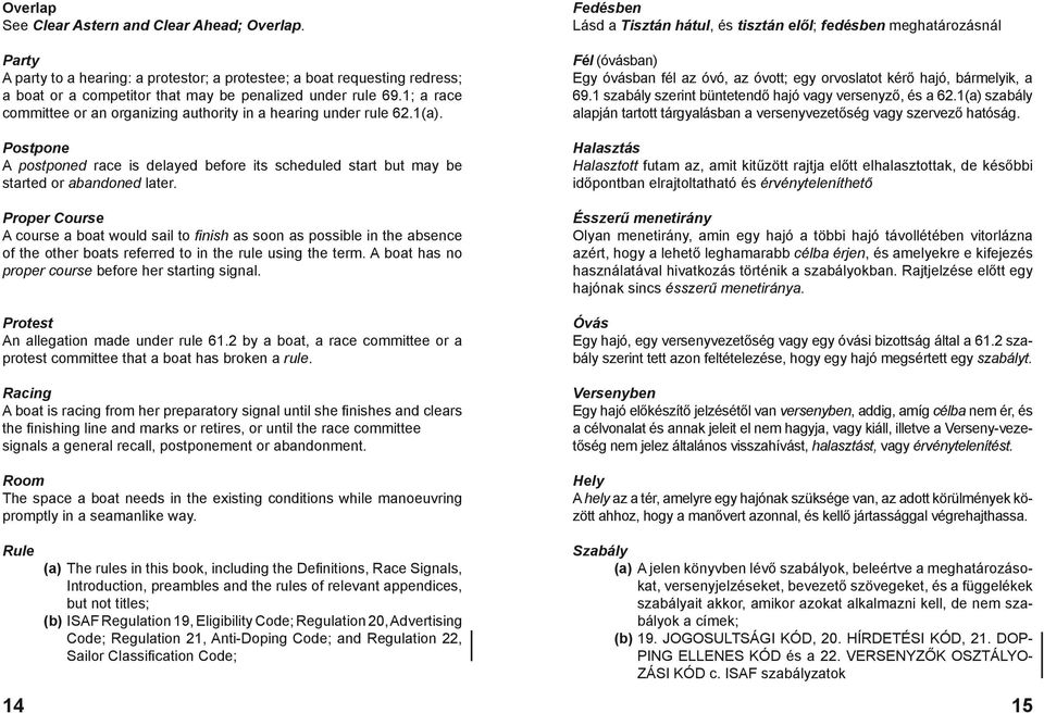 Proper Course A course a boat would sail to finish as soon as possible in the absence of the other boats referred to in the rule using the term. A boat has no proper course before her starting signal.
