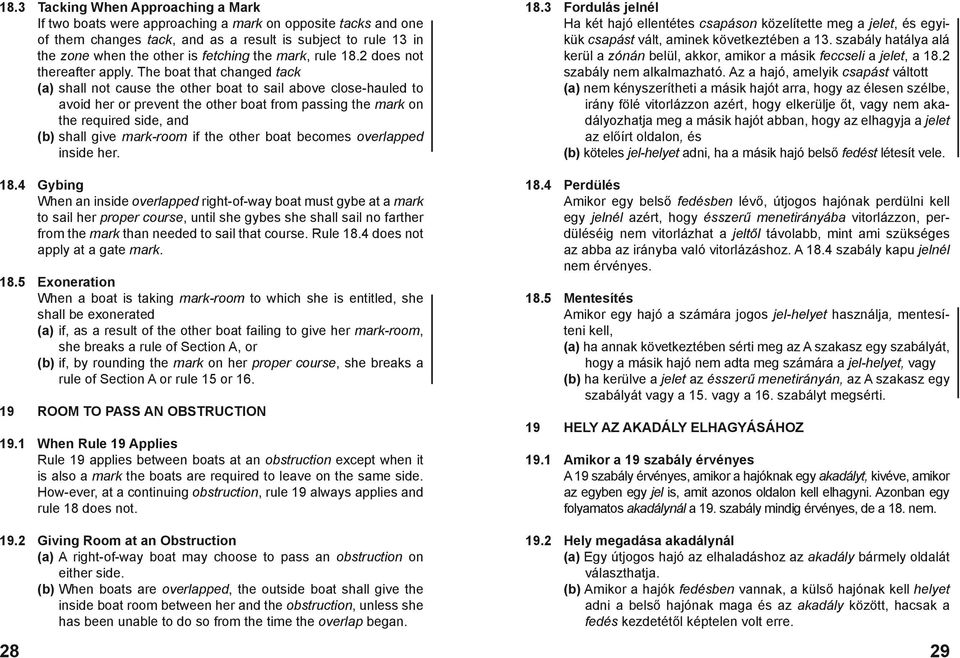 The boat that changed tack (a) shall not cause the other boat to sail above close-hauled to avoid her or prevent the other boat from passing the mark on the required side, and (b) shall give