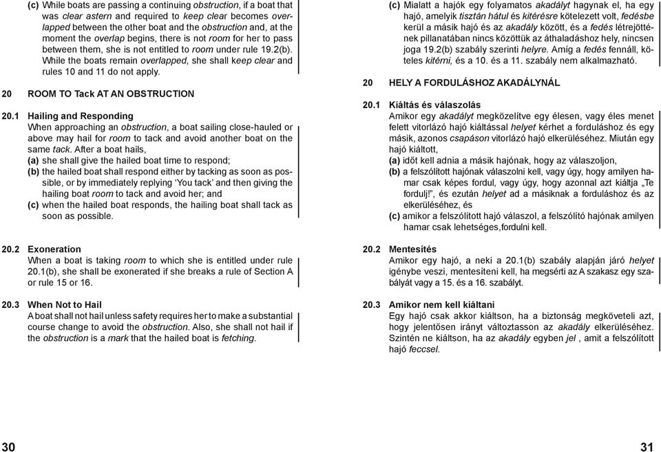 While the boats remain overlapped, she shall keep clear and rules 10 and 11 do not apply. 20 ROOM TO Tack AT AN OBSTRUCTION 20.