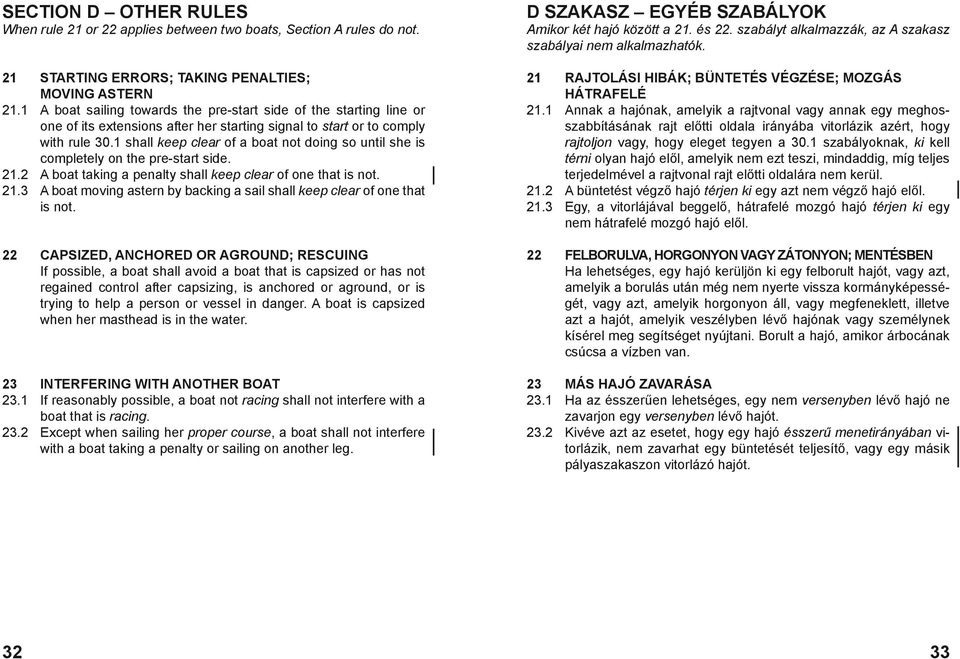 1 shall keep clear of a boat not doing so until she is completely on the pre-start side. 21.2 A boat taking a penalty shall keep clear of one that is not. 21.3 A boat moving astern by backing a sail shall keep clear of one that is not.