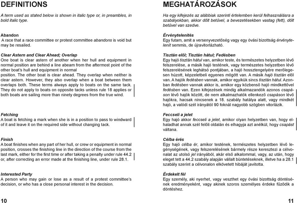 equipment in normal position. The other boat is clear ahead. They overlap when neither is clear astern. However, they also overlap when a boat between them overlaps both.