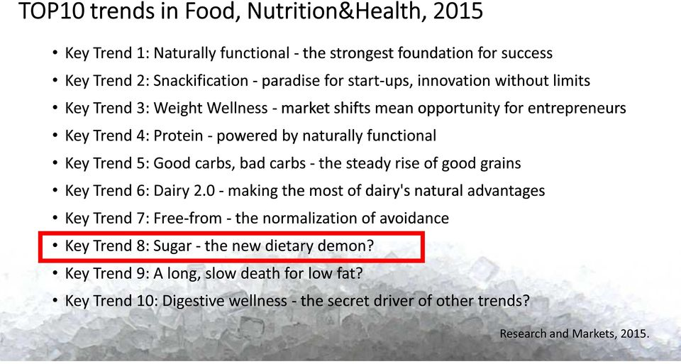 carbs, bad carbs - the steady rise of good grains Key Trend 6: Dairy 2.
