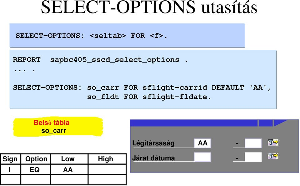 . SELECT-OPTIONS: so_carr FOR sflight-carrid DEFAULT 'AA',