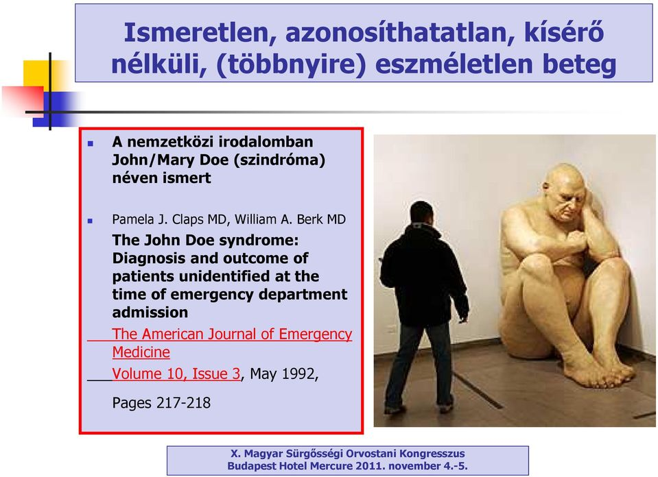 Berk MD The John Doesyndrome: Diagnosis and outcome of patients unidentified at the time of