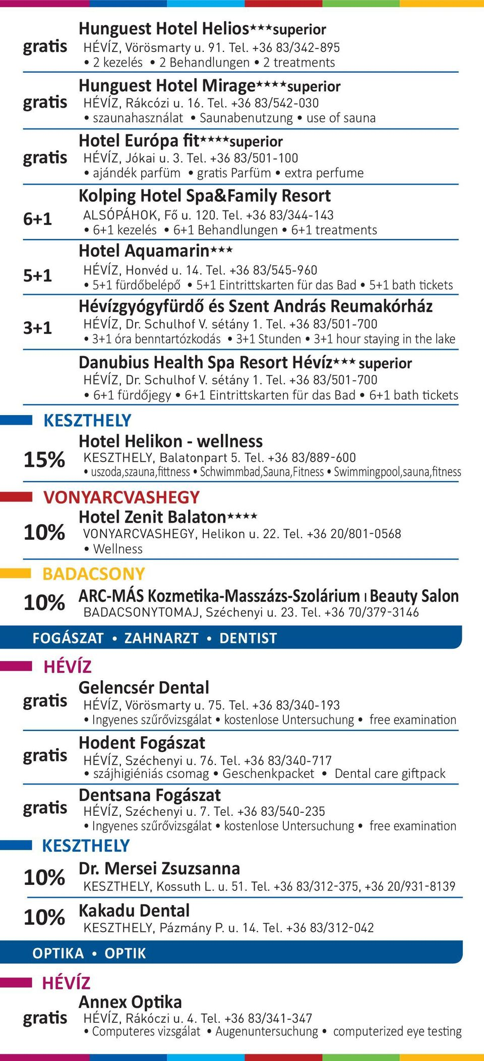 +36 20/801-0568 Wellness BADACSONY ARC-MÁS Kozmetika-Masszázs-Szolárium l Beauty Salon Hunguest Hotel Helios HHH superior, Vörösmarty u. 91. Tel.