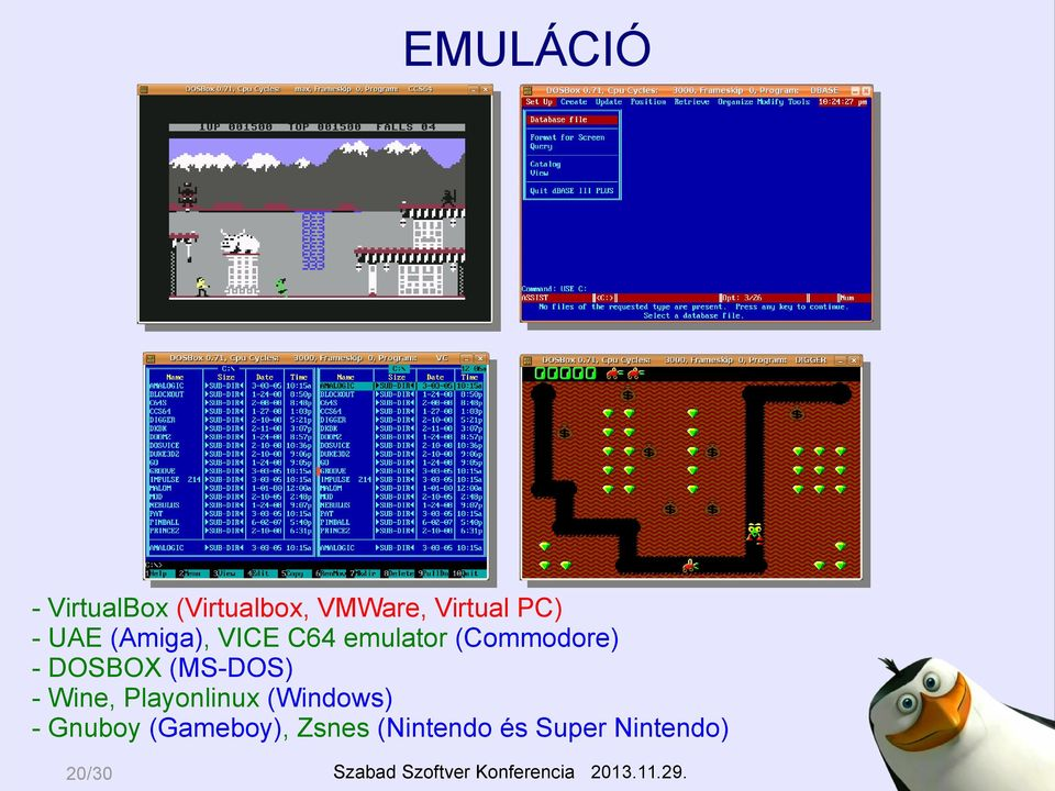 DOSBOX (MS-DOS) - Wine, Playonlinux (Windows) -