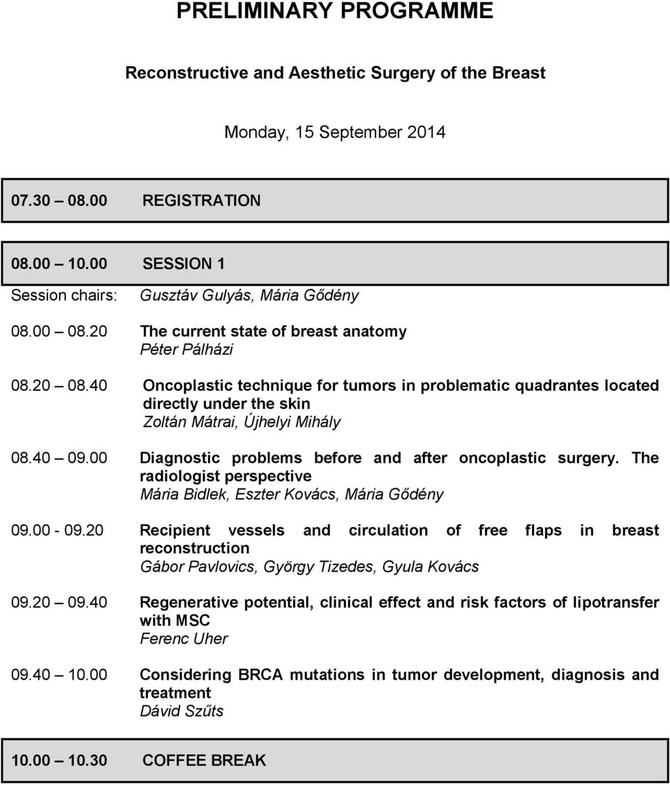 00 Diagnostic problems before and after oncoplastic surgery. The radiologist perspective Mária Bidlek, Eszter Kovács, Mária Gődény 09.00-09.