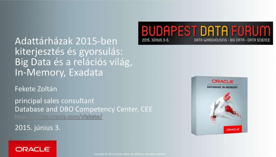 consultant Database and DBO Competency Center, CEE 2015. június 3.