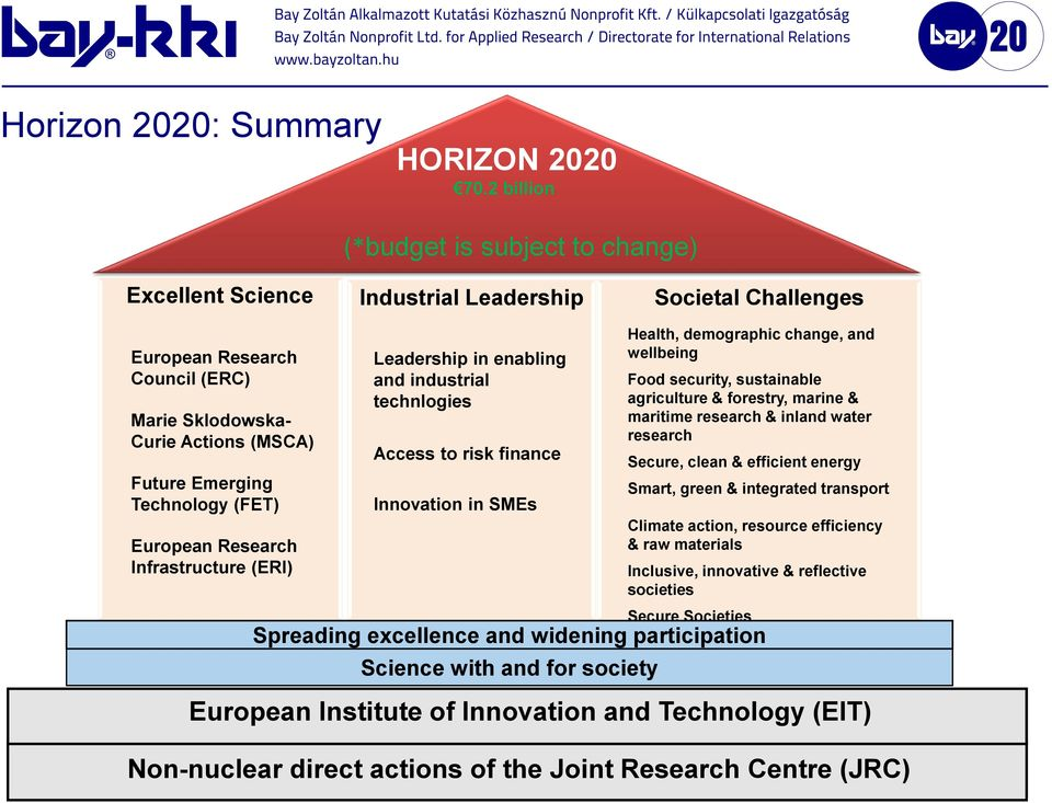 Emerging Technology (FET) European Research Infrastructure (ERI) Leadership in enabling and industrial technlogies Access to risk finance Innovation in SMEs Health, demographic change, and wellbeing