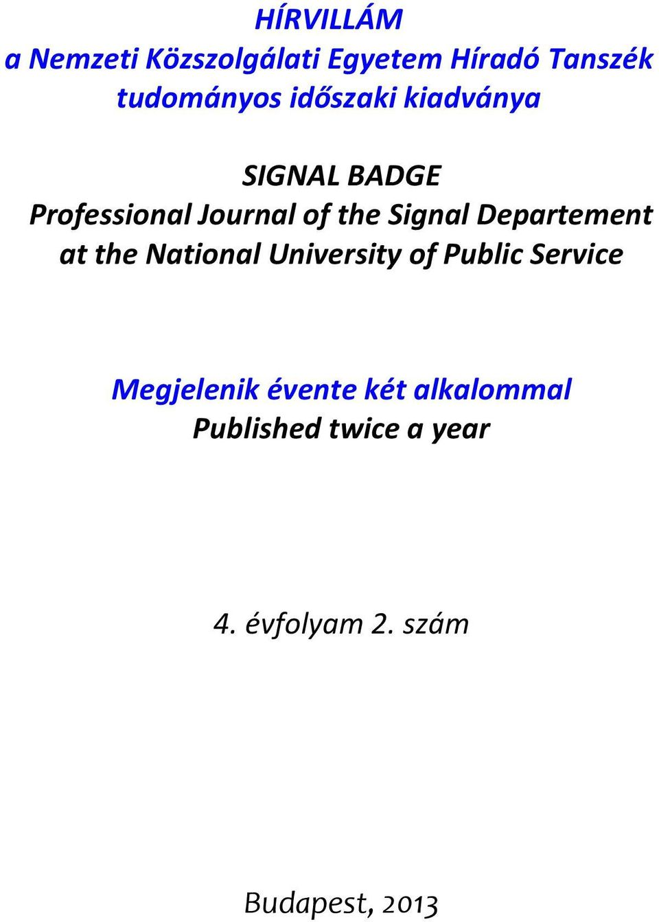 Departement at the National University of Public Service Megjelenik