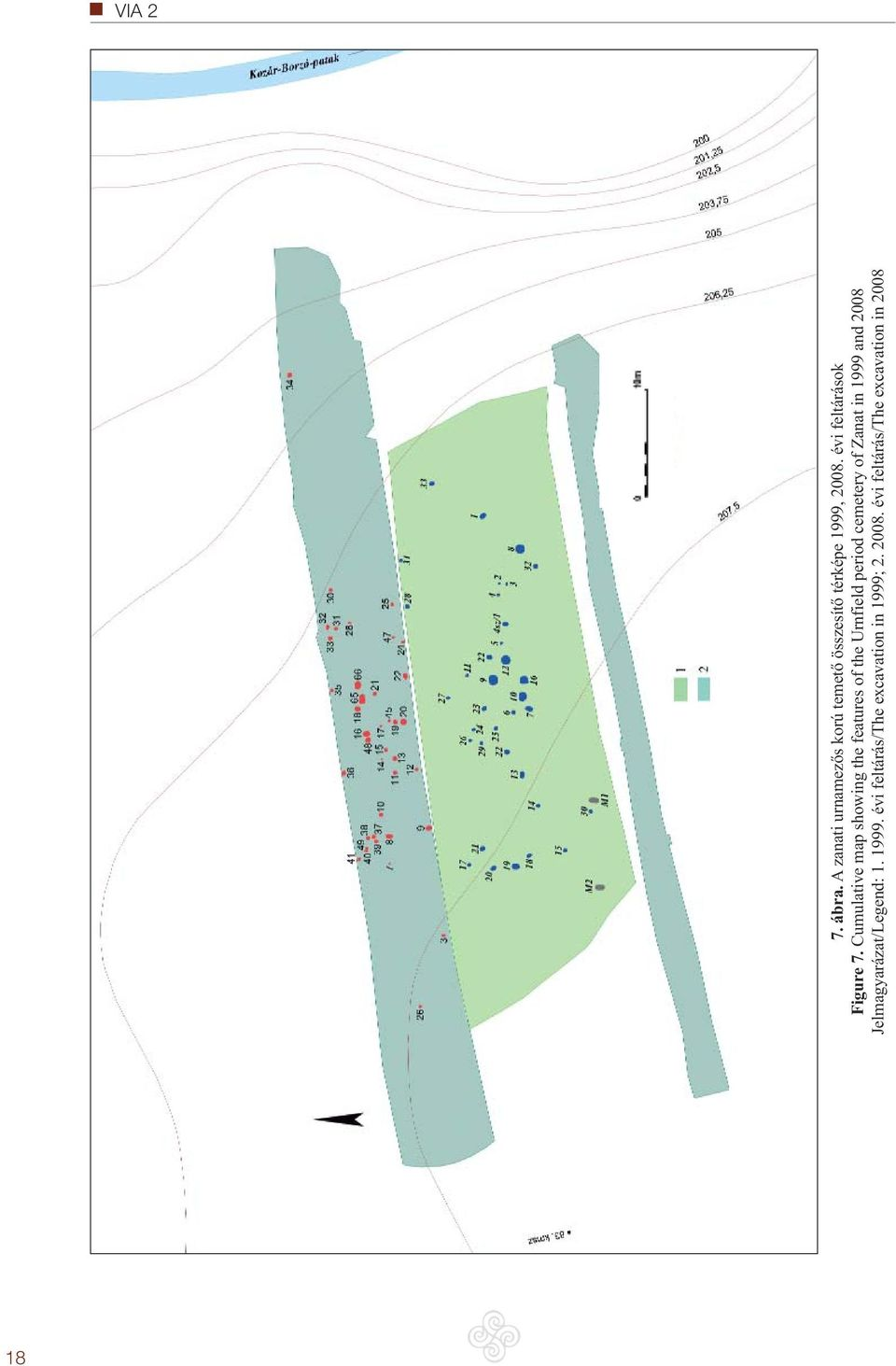 Cumulative map showing the features of the Urnfield period cemetery of Zanat
