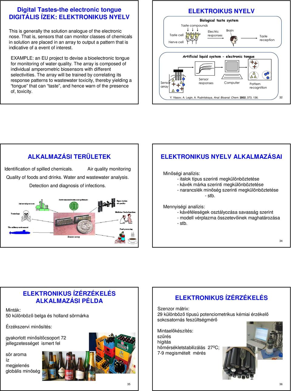 Taste cell Nerve cell ELEKTROIKUS NYELV Taste compounds Biological taste system Electric responses Brain Taste reception EXAMPLE: an EU project to devise a bioelectronic tongue for monitoring of