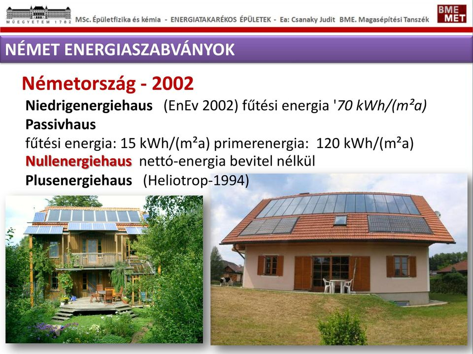 energia: 15 kwh/(m²a) primerenergia: 120 kwh/(m²a)