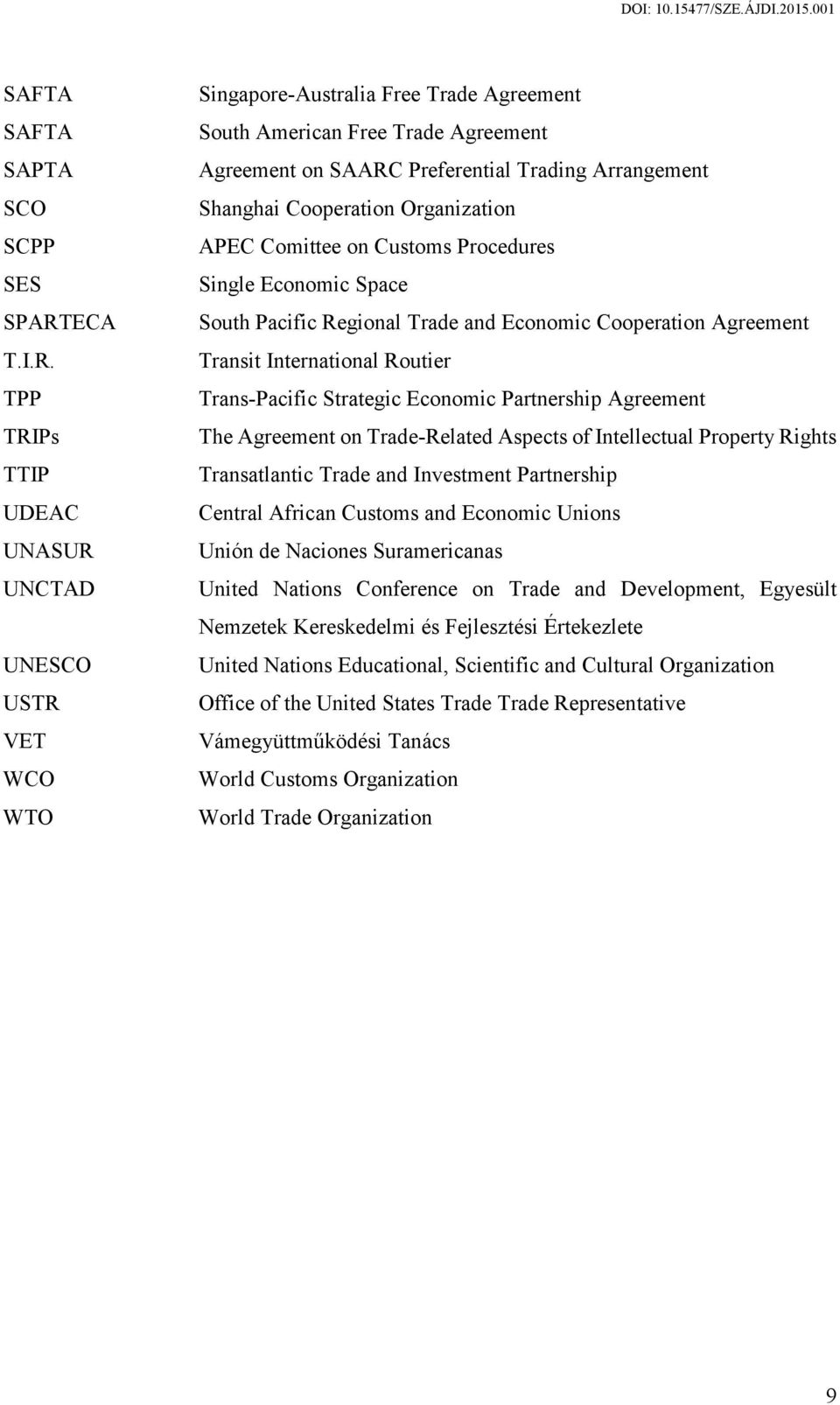 TPP TRIPs TTIP UDEAC UNASUR UNCTAD UNESCO USTR VET WCO WTO Singapore-Australia Free Trade Agreement South American Free Trade Agreement Agreement on SAARC Preferential Trading Arrangement Shanghai