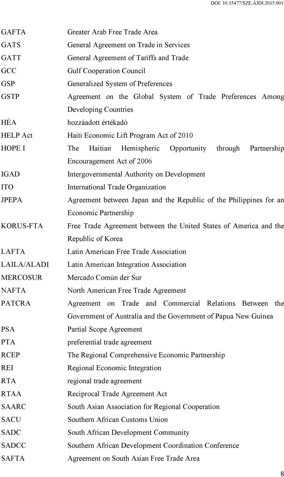 through Partnership Encouragement Act of 2006 IGAD Intergovernmental Authority on Development ITO International Trade Organization JPEPA Agreement between Japan and the Republic of the Philippines
