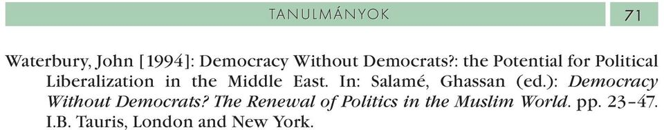 In: Salamé, Ghassan (ed.): Democracy Without Democrats?