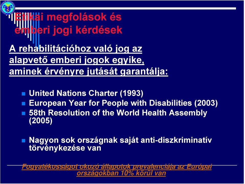 Disabilities (2003) 58th Resolution of the World Health Assembly (2005) Nagyon sok országnak saját
