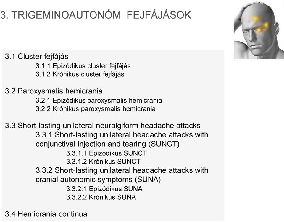 3 Short-lasting unilateral neuralgiform headache attacks 3.3.1 Short-lasting unilateral headache attacks with conjunctival injection and tearing (SUNCT) 3.