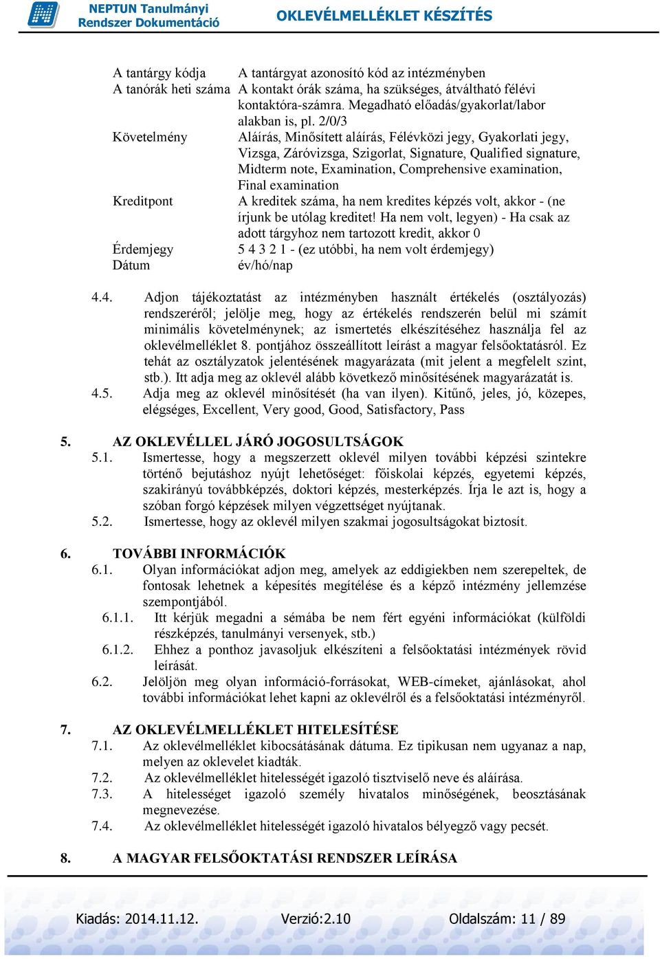 2/0/3 Követelmény Aláírás, Minősített aláírás, Félévközi jegy, Gyakorlati jegy, Vizsga, Záróvizsga, Szigorlat, Signature, Qualified signature, Midterm note, Examination, Comprehensive examination,