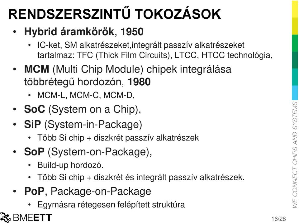 SoC (System on a Chip), SiP (System-in-Package) Több Si chip + diszkrét passzív alkatrészek SoP (System-on-Package), Build-up