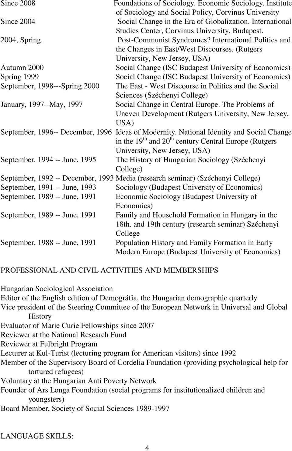 (Rutgers University, New Jersey, USA) Autumn 2000 Social Change (ISC Budapest University of Economics) Spring 1999 Social Change (ISC Budapest University of Economics) September, 1998---Spring 2000