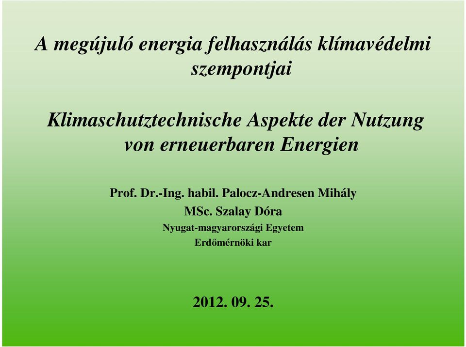 Energien Prof. Dr.-Ing. habil. Palocz-Andresen Mihály MSc.