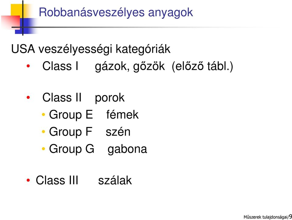 ) Class II porok Group E fémek Group F szén