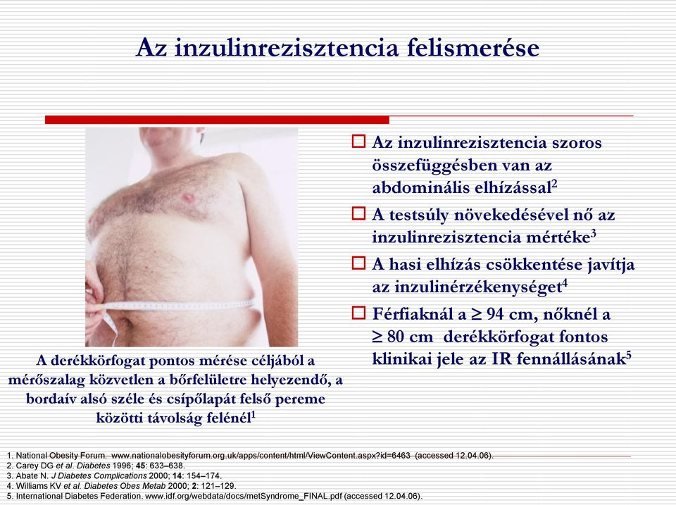 Férfiaknál a 94 cm, nőknél a 80 cm derékkörfogat fontos klinikai jele az IR fennállásának 5 1. National Obesity Forum. www.nationalobesityforum.org.uk/apps/content/html/viewcontent.aspx?
