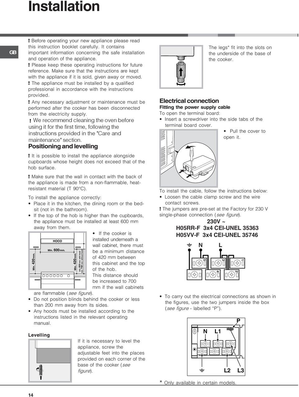 ! The appliance must be installed by a qualified professional in accordance with the instructions provided.