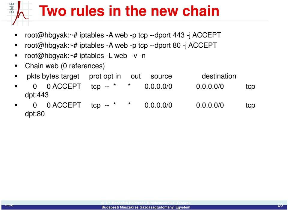 -n Chain web (0 references) pkts bytes target prot opt in out source destination 0 0 ACCEPT