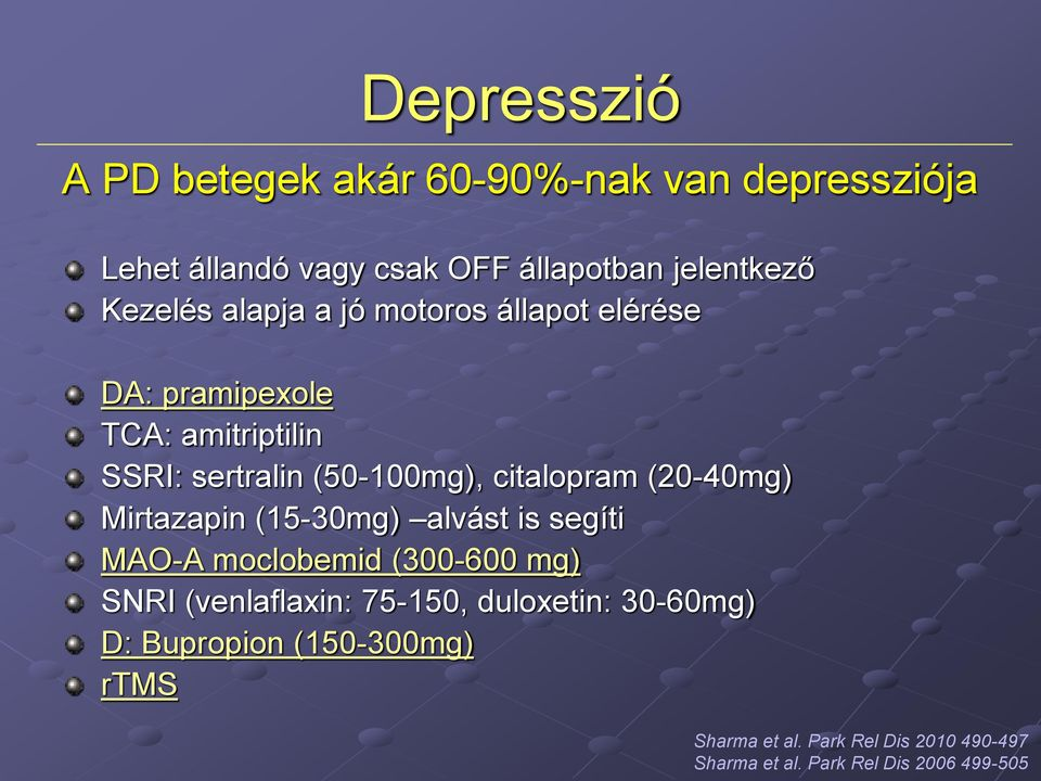(20-40mg) Mirtazapin (15-30mg) alvást is segíti MAO-A moclobemid (300-600 mg) SNRI (venlaflaxin: 75-150,