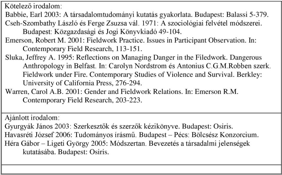 1995: Reflections on Managing Danger in the Filedwork. Dangerous Anthropology in Belfast. In: Carolyn Nordstrom és Antonius C.G.M.Robben szerk. Fieldwork under Fire.