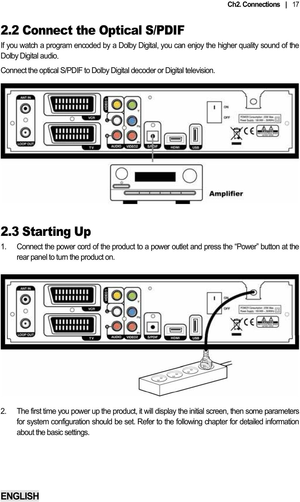the optical S/PDIF to Dolby Digital decoder or Digital television. 2.3 Starting Up 1.