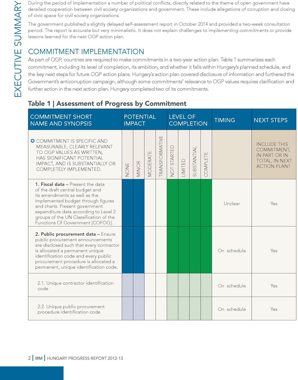 The government published a slightly delayed self-assessment report in October 2014 and provided a two-week consultation period. The report is accurate but very minimalistic.