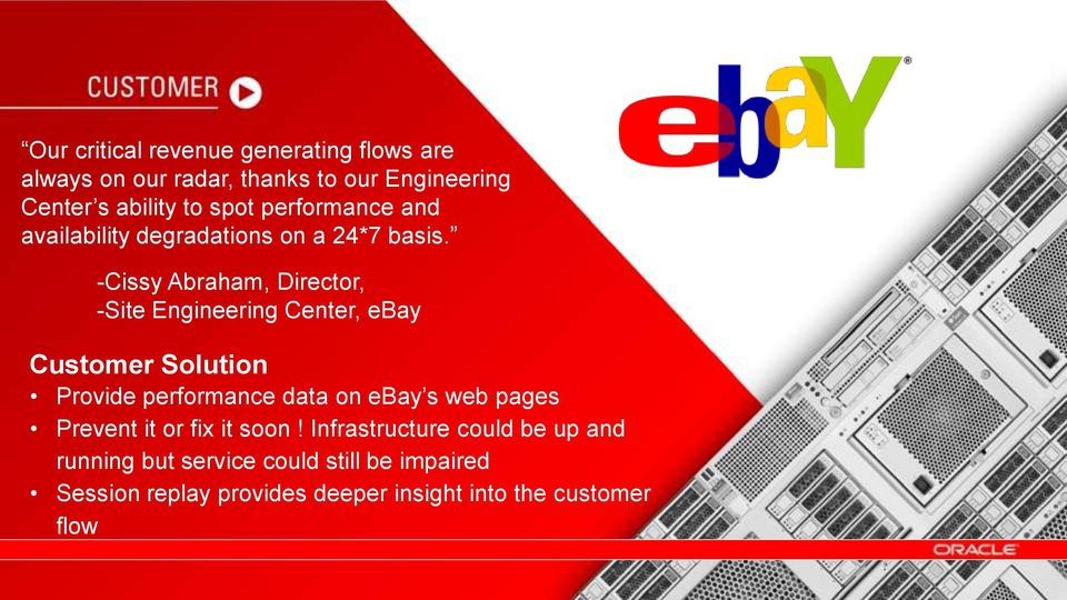 -Cissy Abraham, Director, -Site Engineering Center, ebay Customer Solution Provide performance data on ebay s web pages Prevent it or fix it soon!