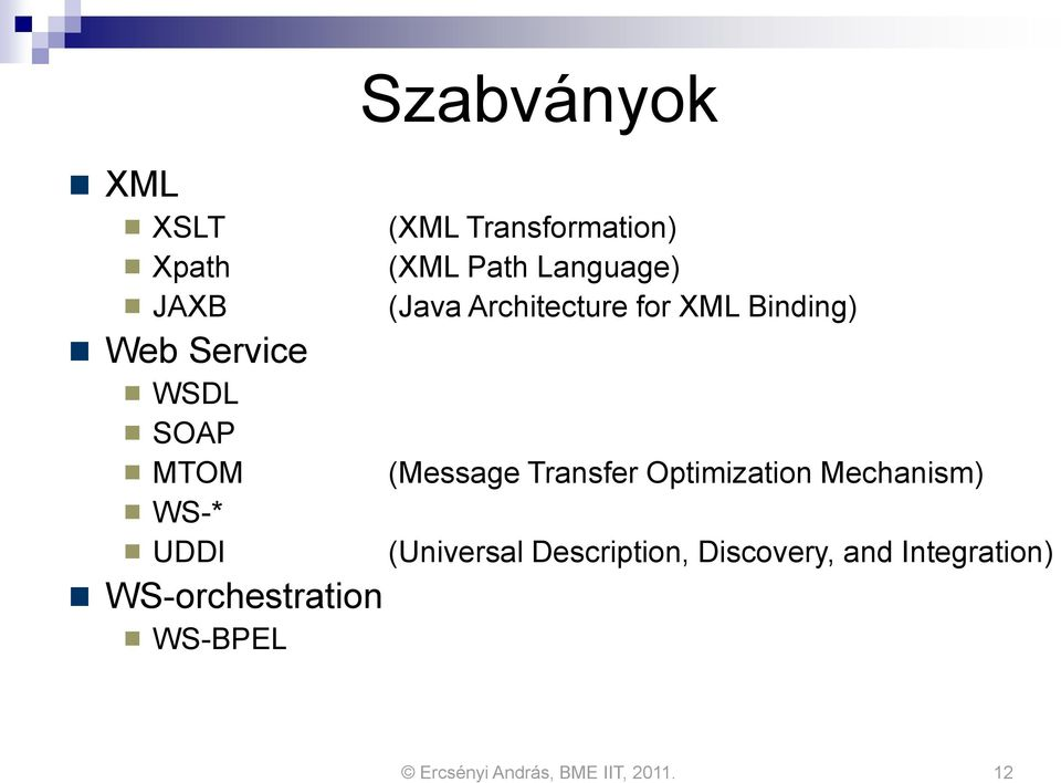 Language) (Java Architecture for XML Binding) (Message Transfer