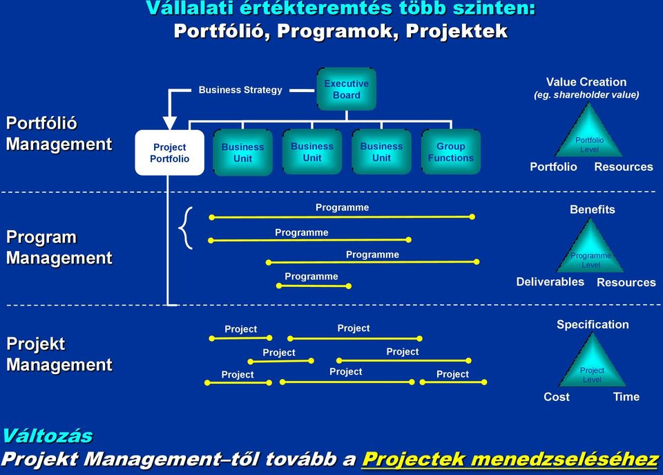 Level Resources Program Management Programme Programme Programme Programme Deliverables Benefits Programme Level Resources Projekt